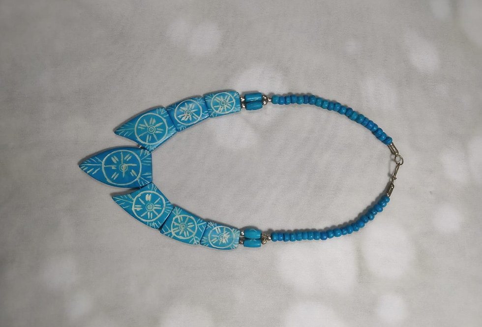 Blue Handcrafted Thread Necklace