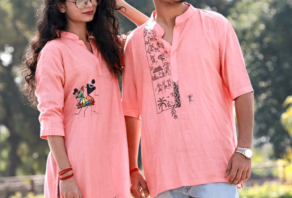 Baby Pink Men's Kurta (Couple Edition)