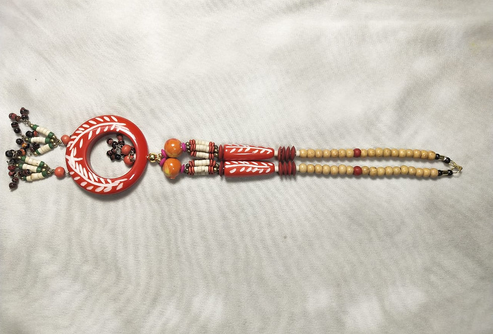 Warli Art Multi Threaded Handcrafted Thread NecklacePink