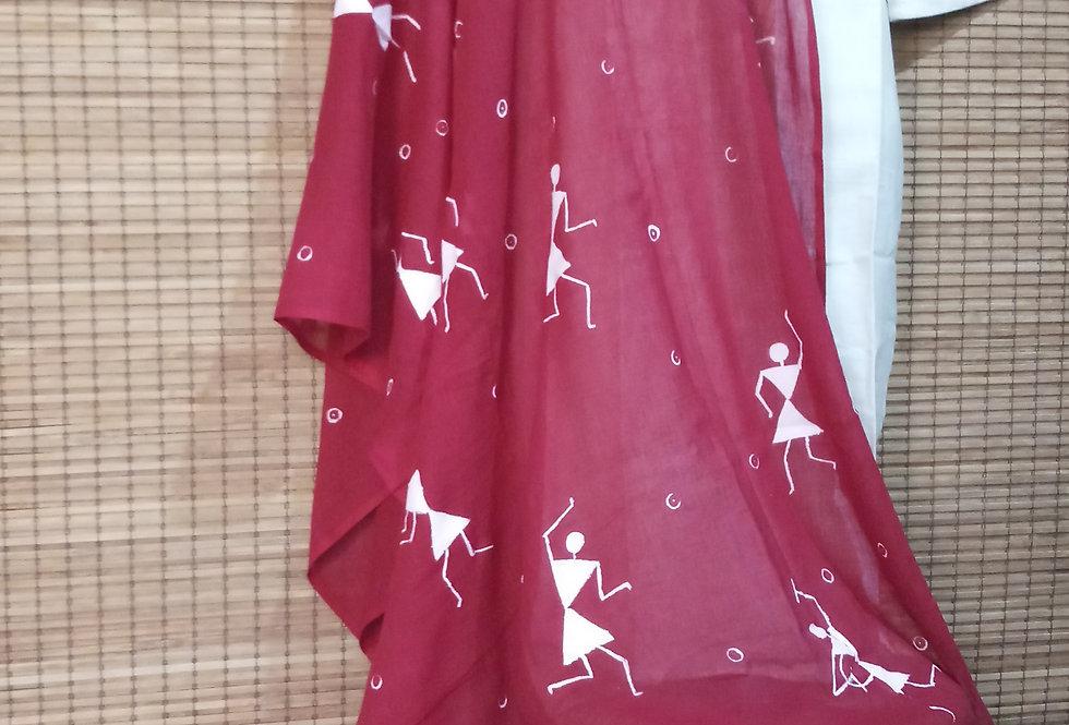 Burgundy Red Warli Print Stole