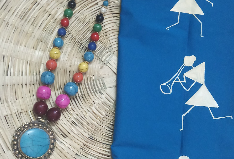Multi Colour Pearl Handcrafted Thread Necklace