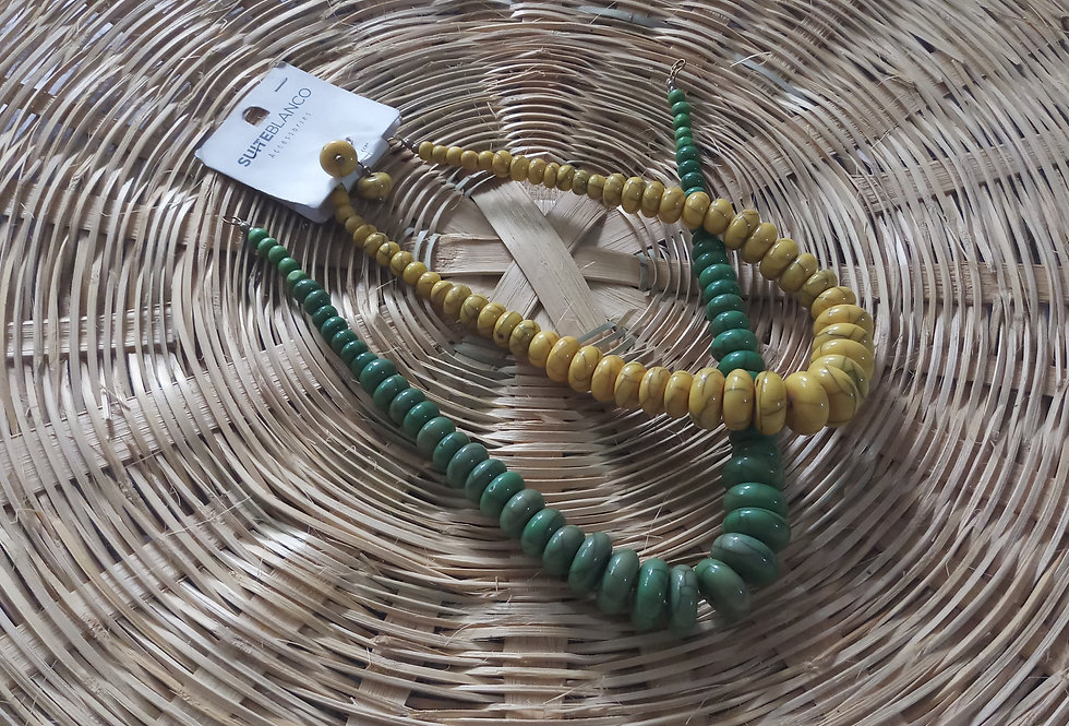 Yellow Green Colour Handcrafted Thread Necklace