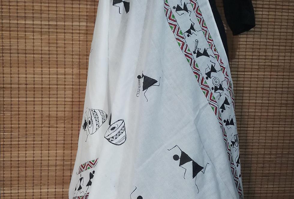 Organic Cotton White Black Stole