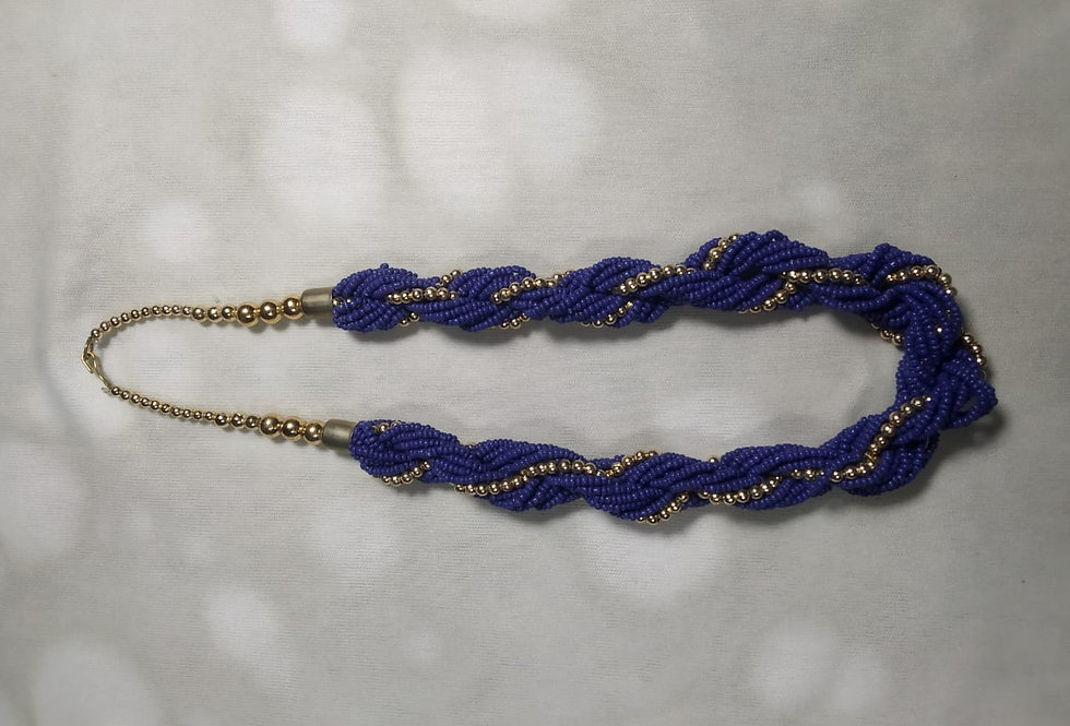 Blue Colour Multi Threaded Handcrafted Thread Necklace