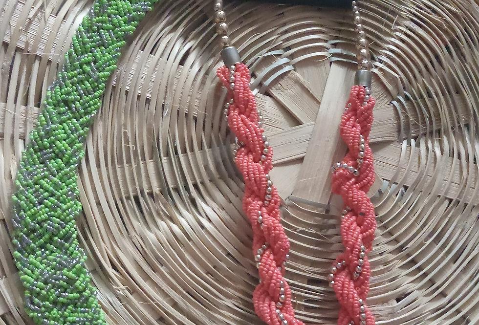 Orange Colour Multi Threaded Handcrafted Thread NecklacePink