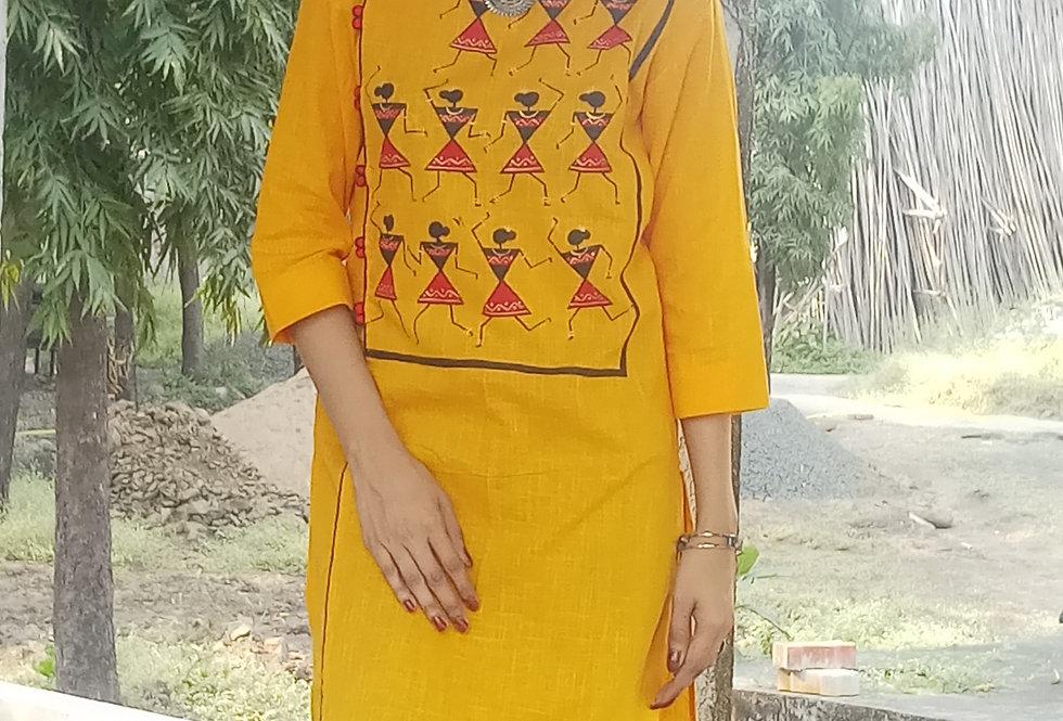 Bumblebee Warli Print Women's Kurti