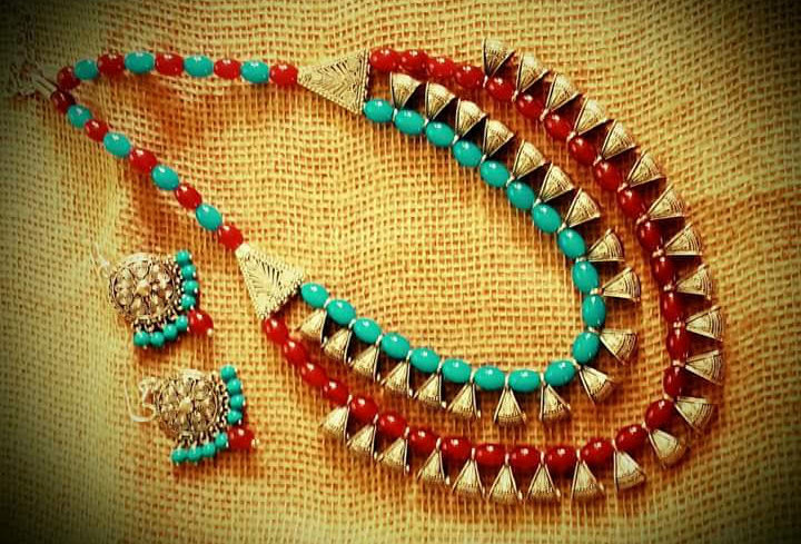 Multi Colour Pearl Handcrafted Thread Necklace With Earings