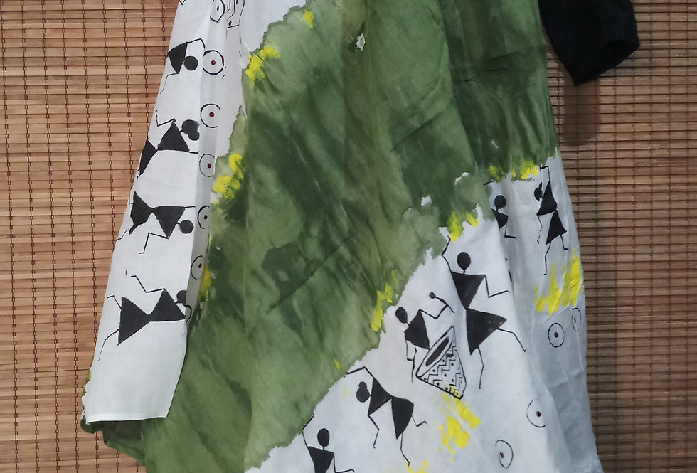 Decent White green Warli Stole