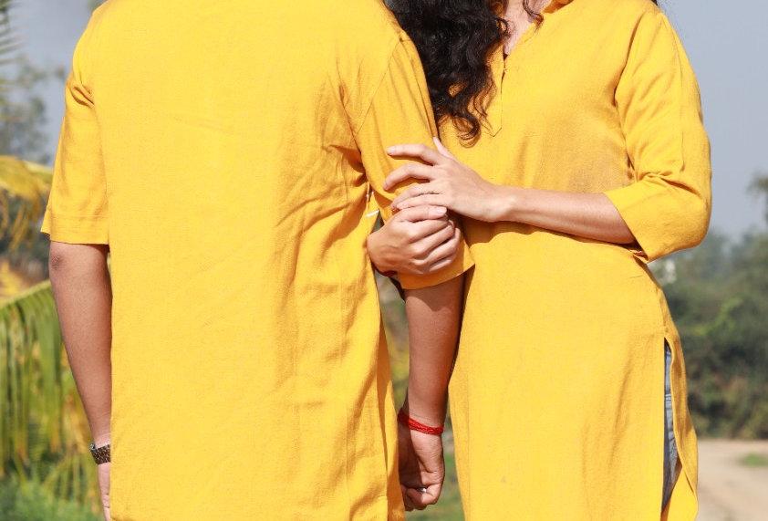 Tuscan Sun Yellow Women's Warli Print Kurti (Couple Kurta's Available)