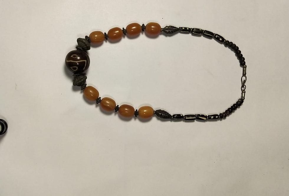 Shree Ganesha Yellow Pearl Handcrafted Thread Necklace