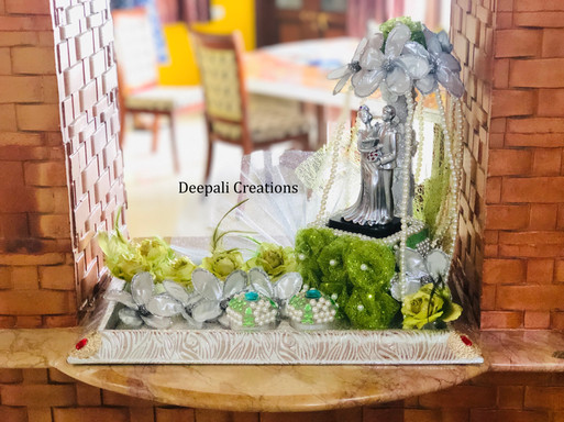 Ring Ceremony Tray Green By Deepali Creations.