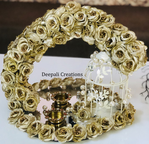 Ring Ceremony Tray Golden Rose By Deepali Creations