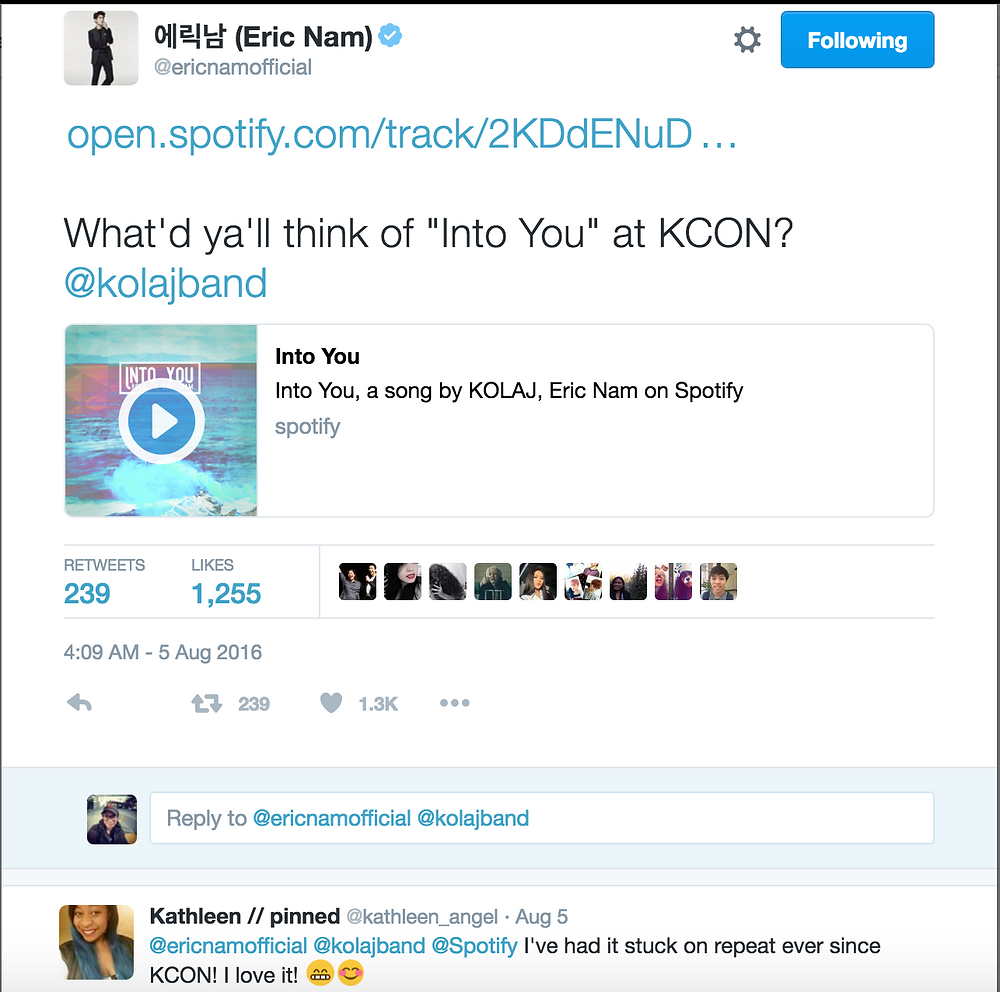 """Eric Nam asks for feedback on """"Into You"""" on Twitter"""