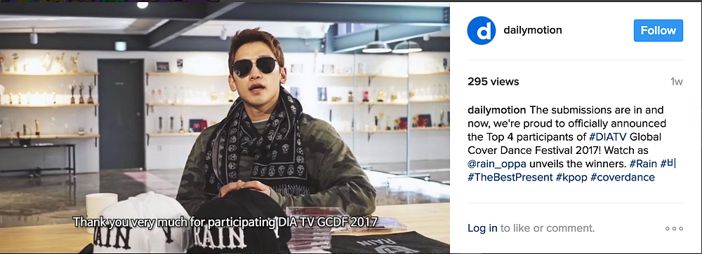 Dailymotion's Instagram post of Rain's Commentary post submission for GCDF 2017