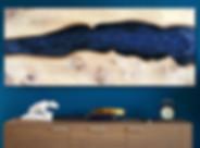 Handmade wall art from elmwood and metallic epoxy