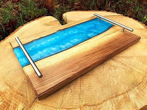 Licht blauw metallic epoxy rivier dienblad **SPECIAL EDITION**
