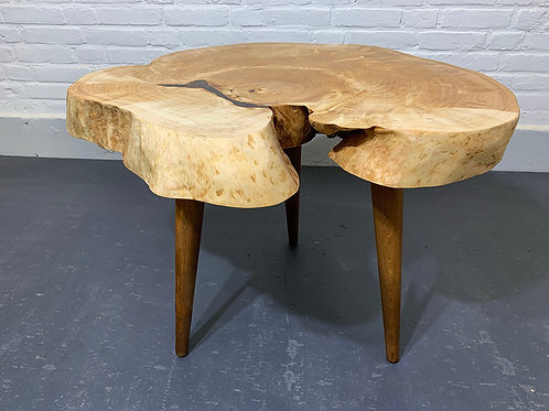 Side table made of Swedish birch burl