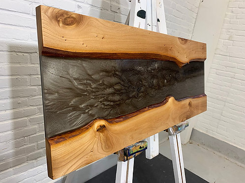 Metallic epoxy wall art