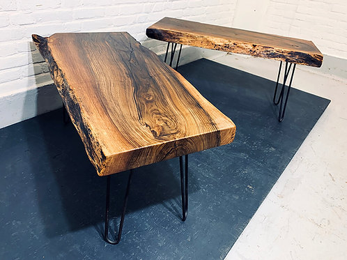 Set of French walnut side tables / Coffee tables (also available per piece)