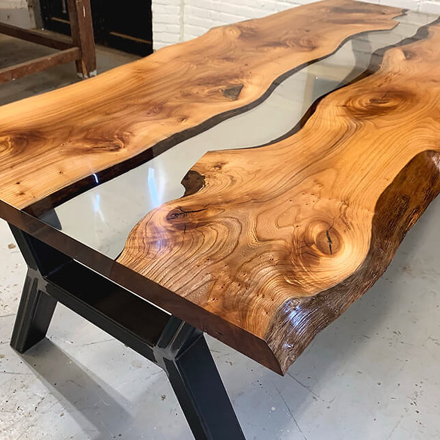 River table made of elm wood