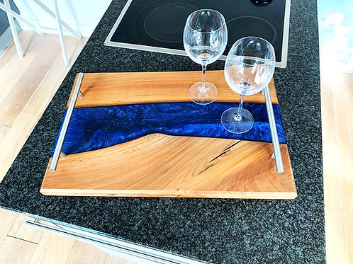 handmade serving tray of elm wood with metallic blue epoxy river