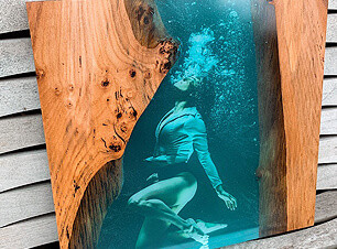 epoxy wall art woman under water