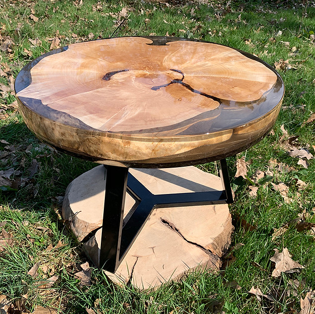 Birch epoxy coffee table