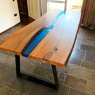 Epoxy river table elm wood
