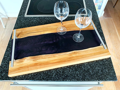handmade cherry wood serving  tray with metallic dark purple epoxy river