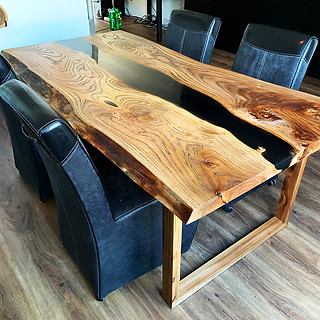 Epoxy river table made of elm wood