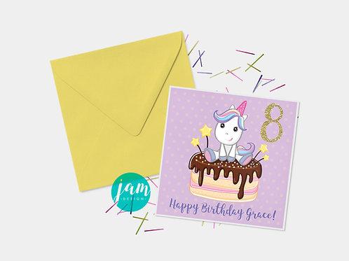 UNICORN CAKE BIRTHDAY CARD