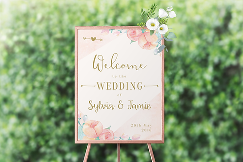 WELCOME SIGN - PEONIES