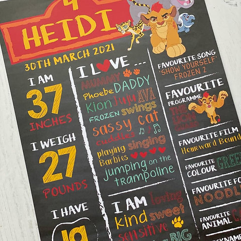 THE LION GUARD BIRTHDAY CHALKBOARD