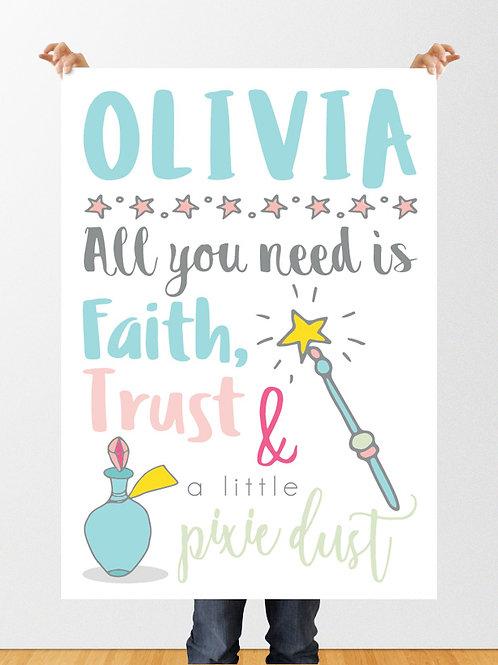 PERSONALISED  FAITH, TRUST & PIXIE DUST PRINT