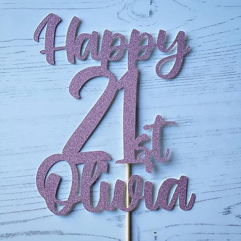 21st BIRTHDAY CAKE TOPPER