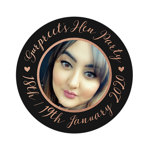 HEN PARTY PHOTO BLACK ROSE GOLD STICKERS