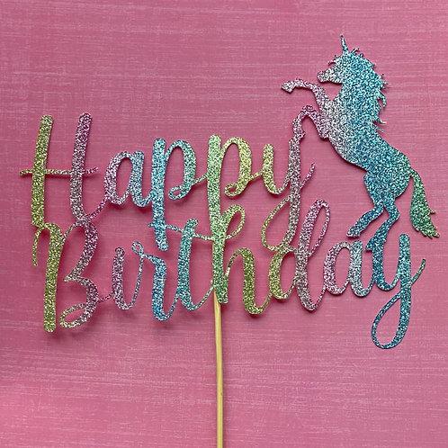 BIRTHDAY UNICORN CAKE TOPPER