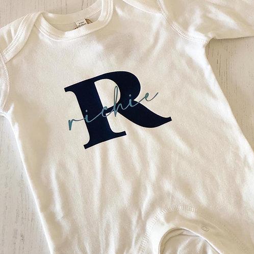 PERSONALISED BABY INITIAL NAME ROMPER
