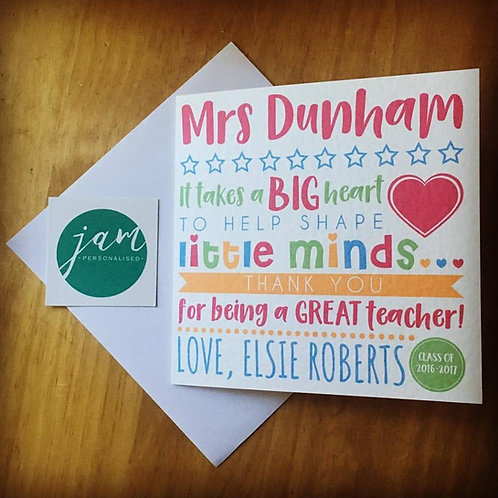 PERSONALISED TEACHER / END OF TERM CARD