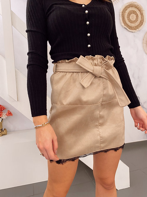 LACE DETAIL SKIRT - BEIGE