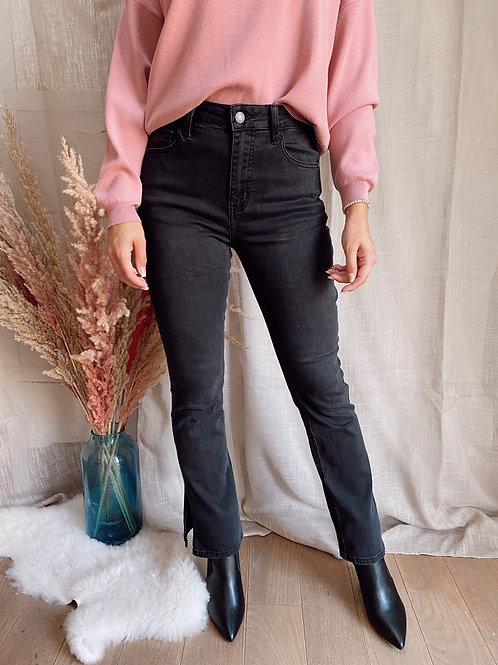 SPLIT IN JEANS - BLACK