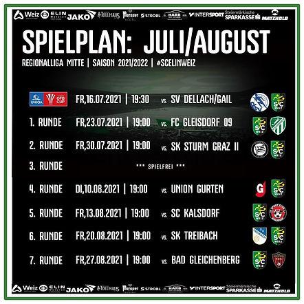 Spielplan SC ELIN WEIZ - Regionalliga Mitte