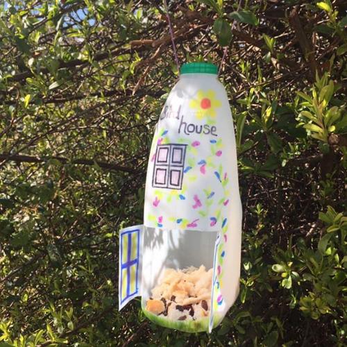 Make a recycled bird feeder