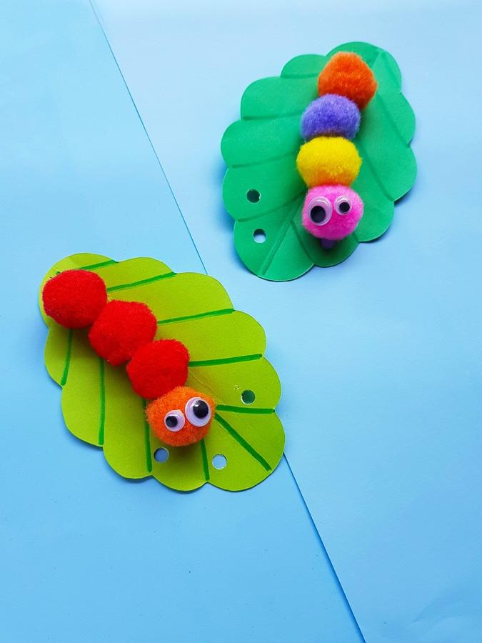 Make a pom pom caterpillar