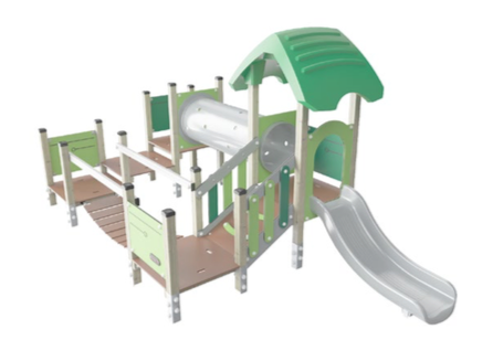 Toddler multi-play unit with wobble bridge and slide