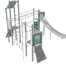 Triple tower multi-play unit with curly slide, bridge and climbing wall