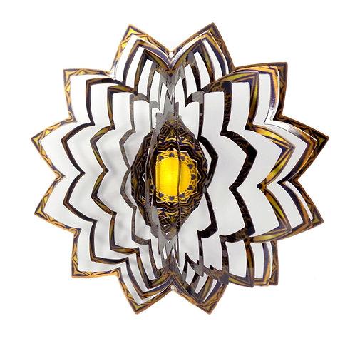 WorldaWhirl 3D Wind Spinner, Mandala Gold Black, Multi