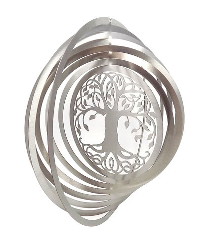 WorldaWhirl 3D Wind Spinner, Tree of Life, Silver