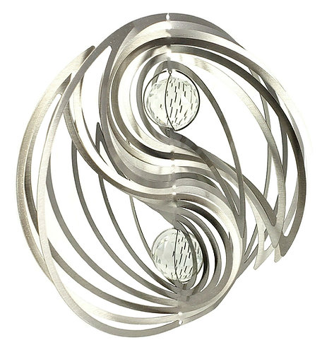 WorldaWhirl 3D Wind Spinner, Yin Yang Silver Clear Crystal Glass Gazing Balls