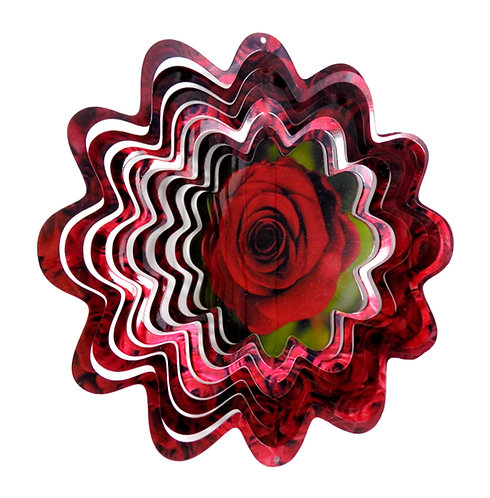 WorldaWhirl 3D Wind Spinner, Rose Flower, Multi